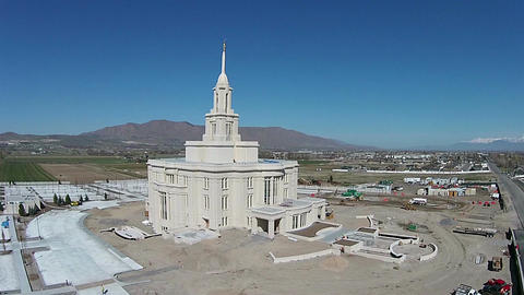 Aerial Payson Utah LDS Mormon Temple construction HD 0040 Footage