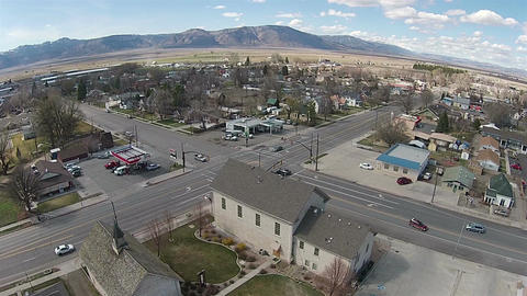 Aerial Rural community road intersection Ephraim UT HD 0046 ビデオ