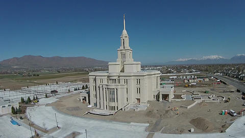 Aerial Temple construction Payson Utah LDS Mormon HD 0020 ビデオ