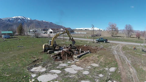 Aerial Trackhoe Excavator working construction HD 032 Footage