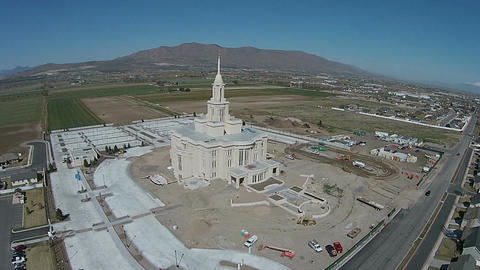 Aerial construction Payson Utah LDS Mormon Temple HD 0030 ビデオ