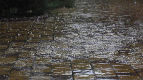 Dangerous weather, rain and hail Footage