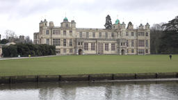 Audley House England rainy day historic house river 4K Live Action