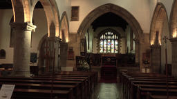 Barnard Castle England St Marys Parish Church inside pan 4K Footage