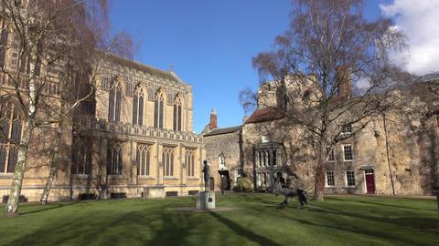 Bury St Edmunds Cathedral garden park historic England 4K Footage