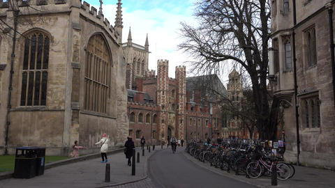 Cambridge University England bikes and people walking 4K Footage