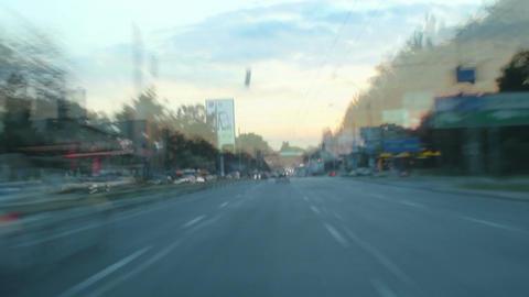 Driving drunk on drugs, insomnia, dusk, street traffic timelapse Live Action