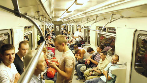 People in subway timelapse, crowd in out when train stops Footage