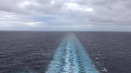 Caribbean Ocean beautiful wake behind cruise ship 4K Footage