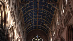 Carlisle England Cathedral tilt from beautiful ceiling to stained glass window 4 Footage