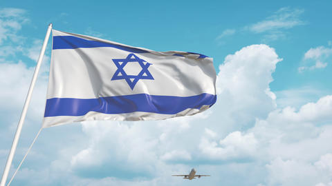 Commercial airplane landing behind the Israeli flag. Tourism in Israel Live Action
