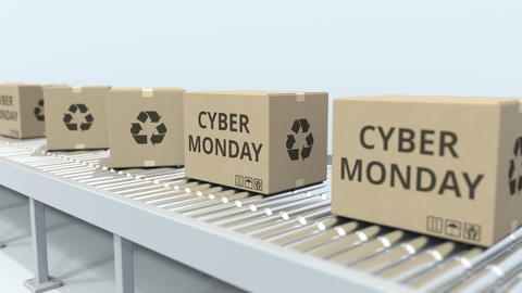 Boxes with CYBER MONDAY text move on roller conveyor. Loopable 3D animation Live Action