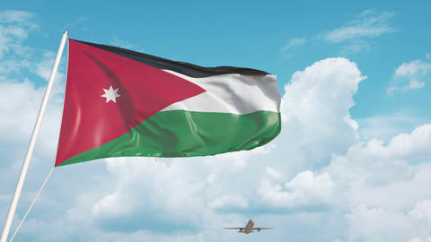 Plane arrives to airport with flag of Jordan. Jordanian tourism Live Action