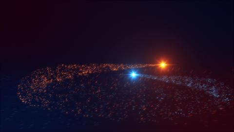 Blue Orange Particles Flying Trails Intro Logo Background Animation