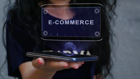 Woman showing HUD hologram E-commerce Live Action