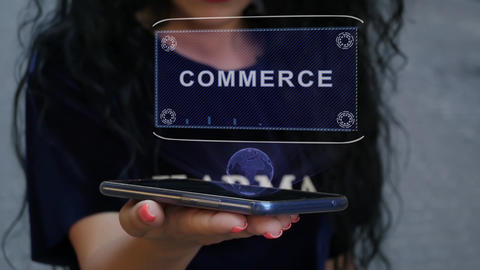 Woman showing HUD hologram Commerce Stock Video Footage