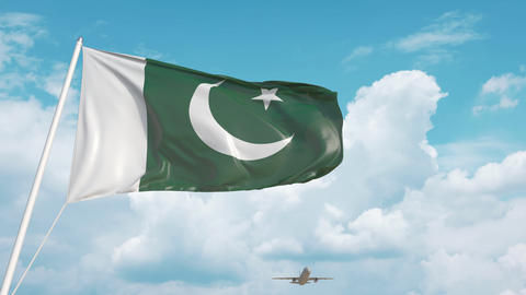 Plane arrives to airport with national flag of Pakistan. Pakistani tourism Live Action