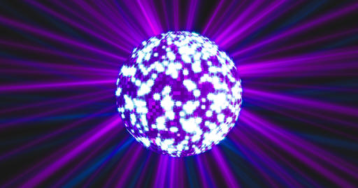 Neon Blue background with rotating sparkling disco ball and laser ray of light Animation