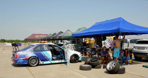 Drift Cars In Garage Area Live Action