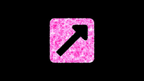 Symbol external link square shimmers in three colors: Purple, Green, Pink. In - Out loop. Alpha Animation
