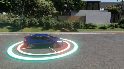Autonomous transportation. Smart auto. Automotive technology concept. Driverless Live Action
