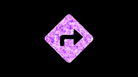 Symbol directions shimmers in three colors: Purple, Green, Pink. In - Out loop. Alpha channel Animation