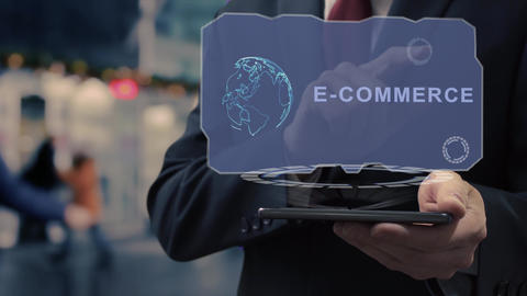 Businessman uses hologram E-commerce Live Action