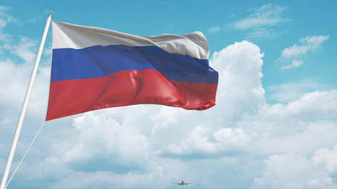 Plane arrives to airport with flag of Russia. Russian tourism Live Action