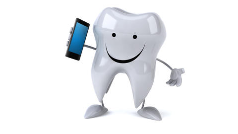 Fun tooth with a phone Animation