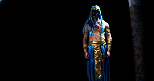 God of wisdom of ancient Egypt, Thoth is walking out with ankh in hand, 4k Live Action