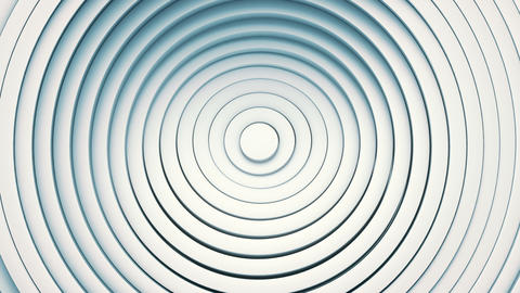 3d architectural abstract background. Concentric white clean rings moving and rotating. Motion Animation