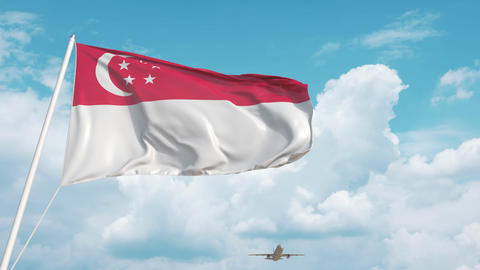 Plane arrives to airport with flag of Singapore. Singaporean tourism Live Action