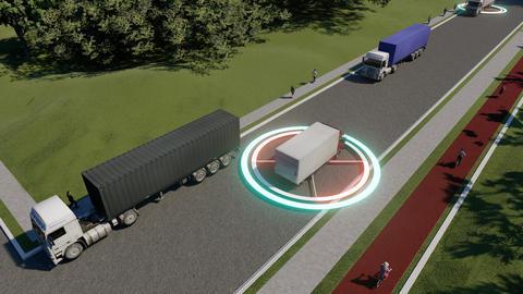 Business communication. Autonomous smart truck. Autonomous car technology Live Action