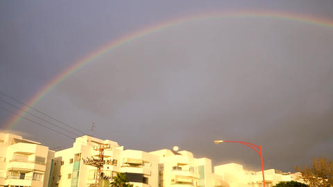 Rainbow in the city. Winter in Israel. HD video Live Action