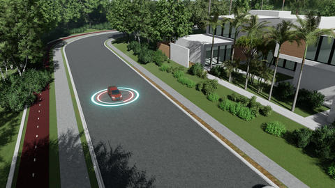Autopilot car gps for concept design. illustration network. Self driving vehicle Live Action