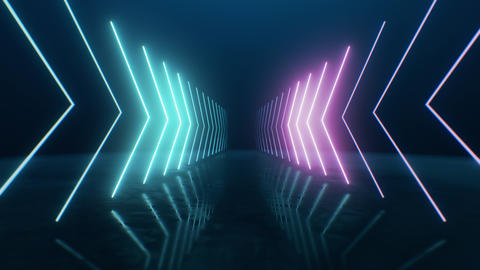 Loop Neon arrows going into perspective Live Action