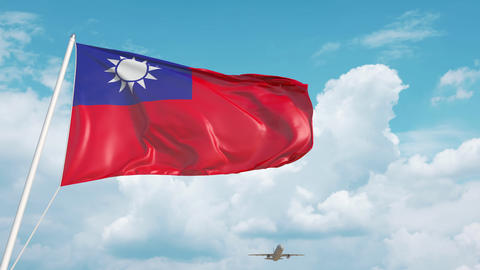 Plane arrives to airport with flag of Taiwan. Taiwanese tourism Live Action