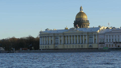View of St. Isaac's Cathedral and constitutional Court Live Action