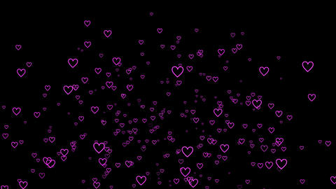 Particle of a lot of shining ring hearts(fall) Animation
