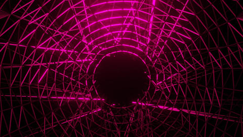 red wireframe neon glowing circle object with black hole in middle, zoom-in and Animation