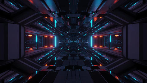3d illustration motion background vj loops with futuristic sci-fi hangar tunnel Animation