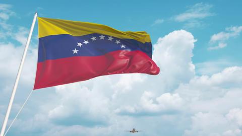 Airliner approaches the Venezuelan flag. Tourism in Venezuela Live Action