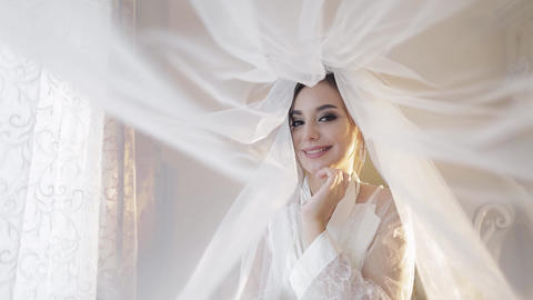 Beautiful and lovely bride in night gown under the veil. Wedding day Live Action