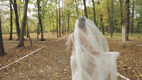 Beautiful and lovely bride in wedding dress running in the park. Slow motion ライブ動画