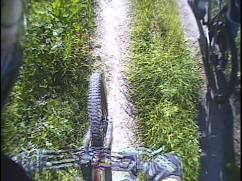 A mountain bike rides over a trail Stock Video Footage