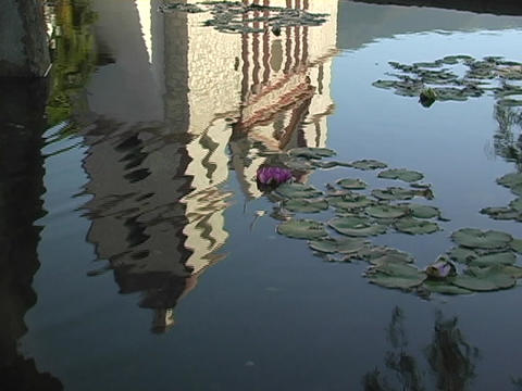 A lily pad pond reflects a Catholic mission in Santa... Stock Video Footage