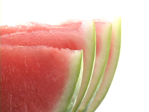 Light shines on watermelon slices Stock Video Footage