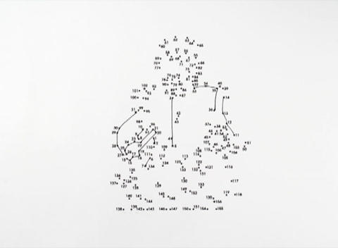 Lines connect the dots on a picture of a soldier Stock Video Footage