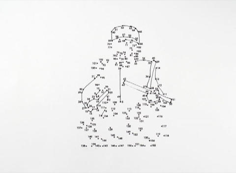 Lines Connect The Dots On A Picture Of A Soldier stock footage