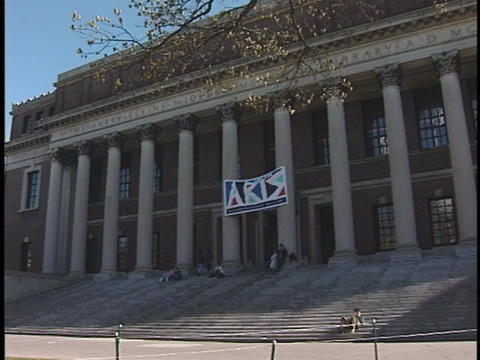 A student approaches the steps of the Widener Library at... Stock Video Footage